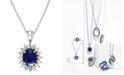 EFFY Collection Royalty Inspired by EFFY Sapphire (1-9/10 ct. t.w.) and Diamond (3/8 ct. t.w.) Oval Pendant in 14k White Gold, Created for Macy's