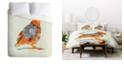 Deny Designs Iveta Abolina Orange Bird King Duvet Set