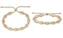 Macy's Textured Bead Bolo Bracelet in 14k Gold-Plated Sterling Silver