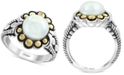 EFFY Collection EFFY® Cultured Freshwater Pearl (9mm) Flower Ring in Sterling Silver & 18k Gold Over Silver