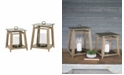 Kalalou Metal And Wood Lanterns, Set of 2