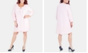 NY Collection Plus Size Balloon-Sleeve Shift Dress With Necklace