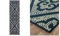 """Oriental Weavers Marina 3804B Navy/Ivory 2'3"""" x 7'6"""" Indoor/Outdoor Runner Area Rug"""