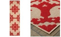 "Oriental Weavers Cayman 097R9 Sand/Red 2'3"" x 7'6"" Indoor/Outdoor Runner Area Rug"