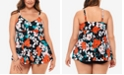 Swim Solutions Plus Size Tankini  Top & High-Waist Bottoms, Created for Macy's