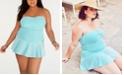 Lauren Ralph Lauren Plus Seersucker Shirred Underwire Skirted Swimdress