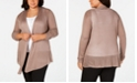 Belldini Belle by Plus Size Pointed-Hem Open-Front Cardigan