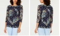 Charter Club Lemon Mesh Printed Top, Created for Macy's
