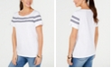 Karen Scott Striped-Ribbon-Trim Cotton Top, Created for Macy's