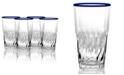 TarHong Cantina Jumbo Blue Rim Drinkware, Set of 4