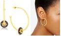"""Steve Madden Gold-Tone Crystal Star Sliding Disc Open Large 1-7/10"""" Medium Hoop Earrings"""