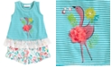 Bonnie Baby 2-Pc. Flamingo Tunic & Floral-Print Shorts Set
