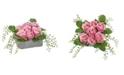 Nearly Natural Rose Artificial Arrangement in Square Ceramic Vase