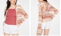 Freshman Juniors' Striped Pointelle-Knit Hoodie