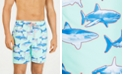 "Club Room Men's Quick-Dry Shark-Print 7"" Twill Swim Trunks, Created for Macy's"