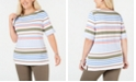 Karen Scott Plus Size Striped Boat-Neck T-Shirt, Created for Macy's