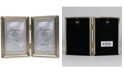 """Lawrence Frames Antique Gold Bead Hinged Double Picture Frame - 3.5"""" x 5"""""""