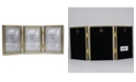 """Lawrence Frames Antique Gold Bead Hinged Triple Picture Frame - 3.5"""" x 5"""""""