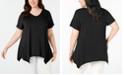 JM Collection Plus Size V-Neck Handkerchief-Hem Top, Created for Macy's