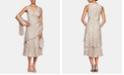 Alex Evenings Petite Printed Tiered-Hem Dress & Shawl