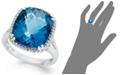 Macy's 14k White Gold Ring, Cushion-Cut London Blue Topaz (9-3/8 ct. t.w.) and Diamond (1/5 ct. t.w.) Ring