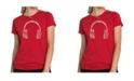 LA Pop Art Women's Premium Word Art T-Shirt - Language Headphones