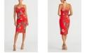RACHEL Rachel Roy Printed Floral Crepe Back Scuba Sheath Dress