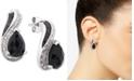 Macy's Onyx (9 x 6mm) & Diamond (1/10 ct. t.w.) Drop Earrings in Sterling Silver
