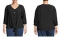John Paul Richard Tie Front Blouse with Button Front, Plus Size