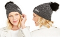Steve Madden Lurex Rib-Knit Beanie with Faux-Fur Pom