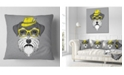 "Design Art Designart Schnauzer With Hat And Glasses Contemporary Animal Throw Pillow - 18"" X 18"""