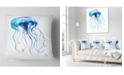 "Design Art Designart Large Light Blue Jellyfish Animal Throw Pillow - 18"" X 18"""