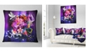"Design Art Designart Abstract Floral Design With Dove Floral Throw Pillow - 18"" X 18"""