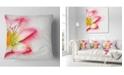 "Design Art Designart Beautiful Pink Flower Painting Floral Throw Pillow - 16"" X 16"""