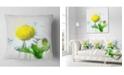 "Design Art Designart Yellow Chamomile Sketch Watercolor Floral Throw Pillow - 18"" X 18"""