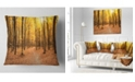 """Design Art Designart Yellow Treetops In Fall Forest Modern Forest Throw Pillow - 18"""" X 18"""""""