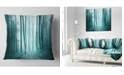 """Design Art Designart Turquoise Colored Magic Forest Modern Forest Throw Pillow - 18"""" X 18"""""""