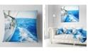 "Design Art Designart White Sailing Yacht In Blue Sea Seashore Throw Pillow - 18"" X 18"""
