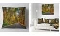 "Design Art Designart Road Through Yellow Forest Landscape Printed Throw Pillow - 18"" X 18"""