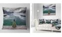 "Design Art Designart Boy Looking At Clear Mountain Lake Landscape Printed Throw Pillow - 18"" X 18"""