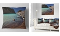 "Design Art Designart Bright Blue Waters Of Mountain Lake Landscape Printed Throw Pillow - 18"" X 18"""