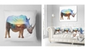 "Design Art Designart Rhino Double Exposure Illustration Animal Throw Pillow - 18"" X 18"""