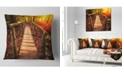 "Design Art Designart Beautiful Footbridge In Golden Light Bridge Throw Pillow - 18"" X 18"""