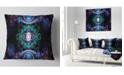 """Design Art Designart Cabalistic Blue Fractal Pattern Abstract Throw Pillow - 18"""" X 18"""""""