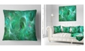 "Design Art Designart Green Fractal Glass Texture Abstract Throw Pillow - 18"" X 18"""