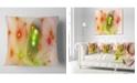 "Design Art Designart Orange Fractal Lights In Fog Abstract Throw Pillow - 18"" X 18"""