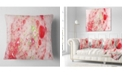 "Design Art Designart Red Fractal Planet Of Bubbles Abstract Throw Pillow - 16"" X 16"""