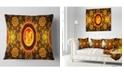 """Design Art Designart Golden Psychedelic Relaxing Art Abstract Throw Pillow - 16"""" X 16"""""""