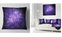 "Design Art Designart Purple Fireworks On Black Abstract Throw Pillow - 16"" X 16"""