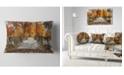 "Design Art Designart Beautiful Watercolor Autumn Forest Landscape Printed Throw Pillow - 12"" X 20"""